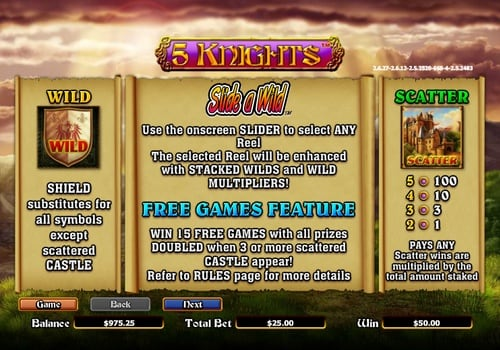 Wild, Scatter и фриспины в игровом аппарате 5 Knights