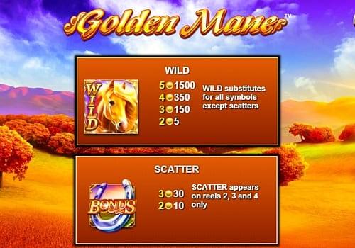 Wild и Scatter в игровом аппарате Golden Mane