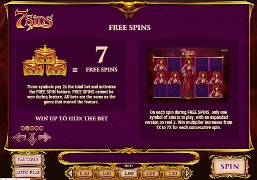 Правила фриспинов в онлайн слоте 7 Sins